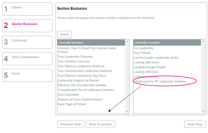 Section Exclusion Leader self